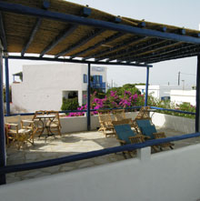 terrace with free sun beds
